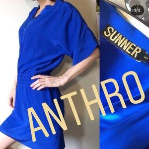 Anthropologie SUNNER Silk Vibrant Power Blue Dress